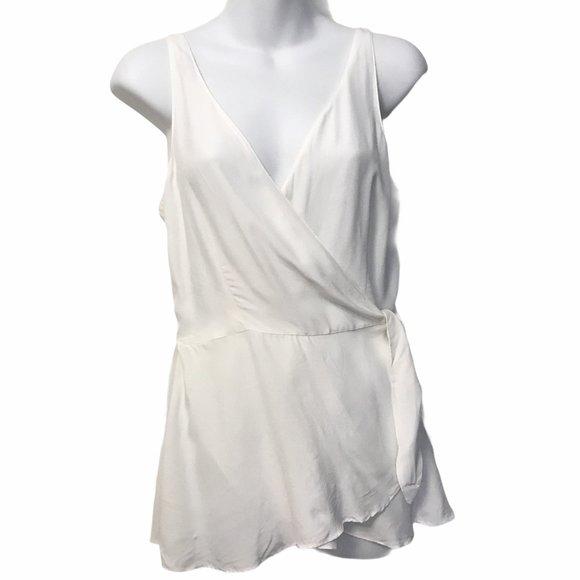 MASSIMO DUTTI Women Sleeveless Wrap Top White Smal